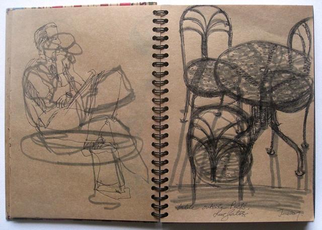 Sketching at a cafe