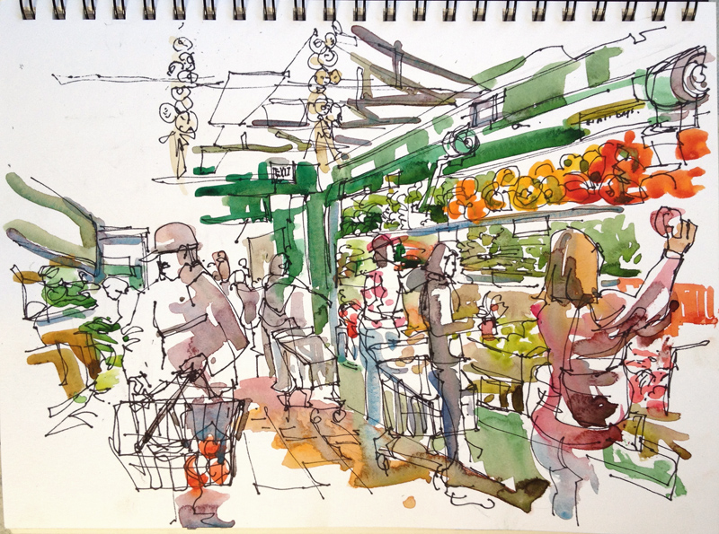 Vegetable Market Drawing For Kids Sketch Away Travels With My