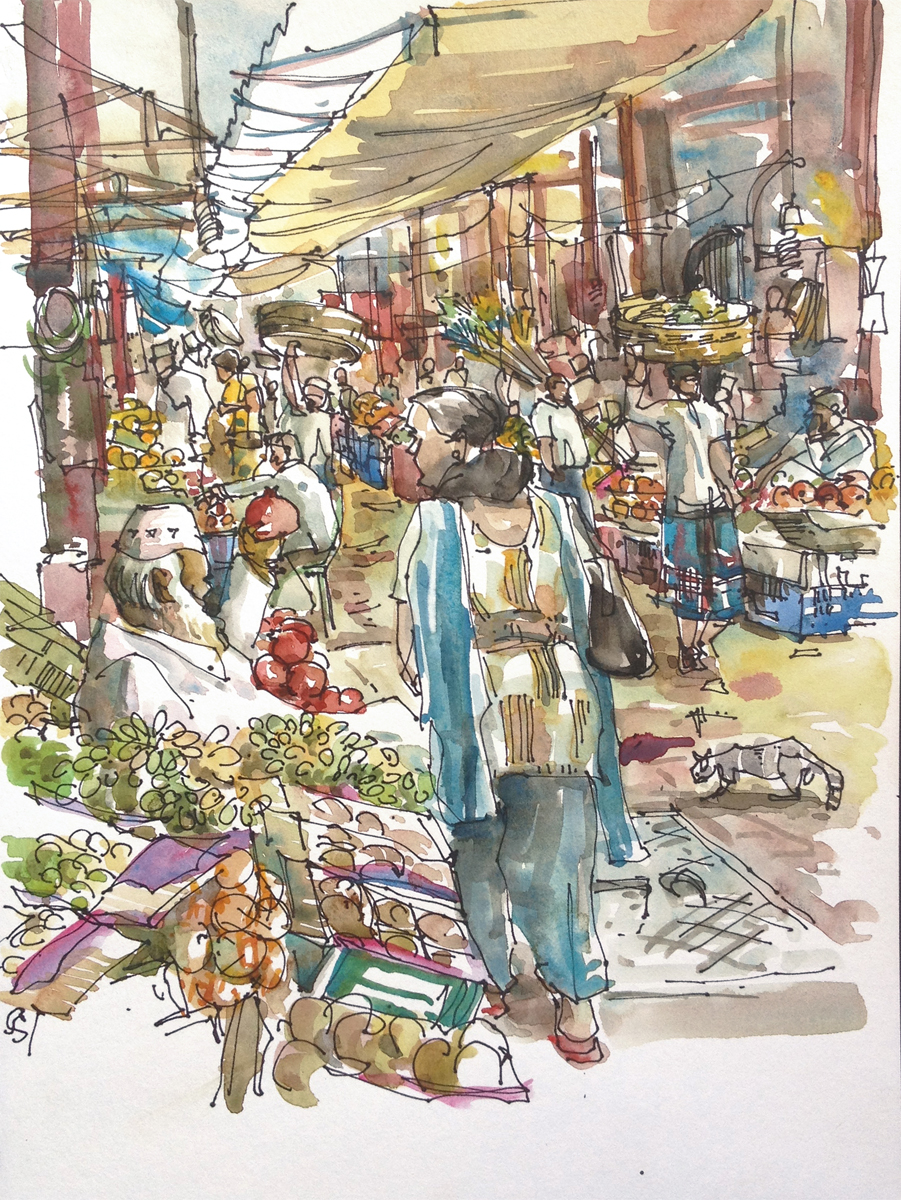 Indian Marketplace Drawing My many Indias....