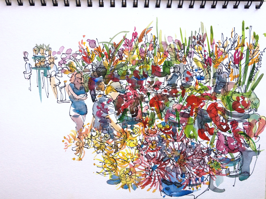 Island Flowers Drawings This Flower Stall is at The
