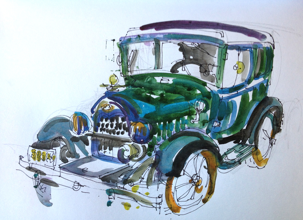 Hot Air Balloons And Vintage Cars Sketch Away Travels With My