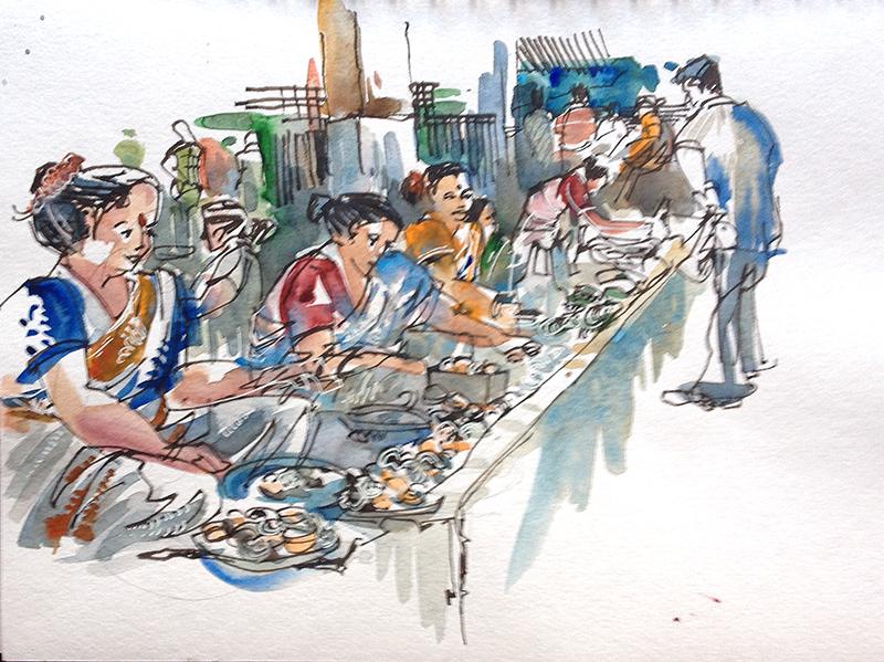 Sketching in goa part 4 fish markets urban sketchers for Hagen s fish market