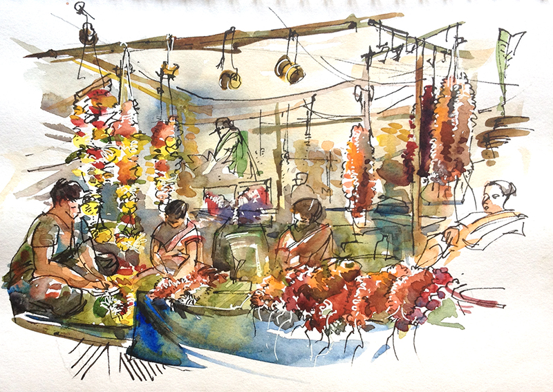 Indian Marketplace Drawing Sketching in Goa: Part...