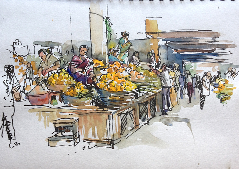 Sketching in goa part 2 the markets urban sketchers for Artisan cuisine of india