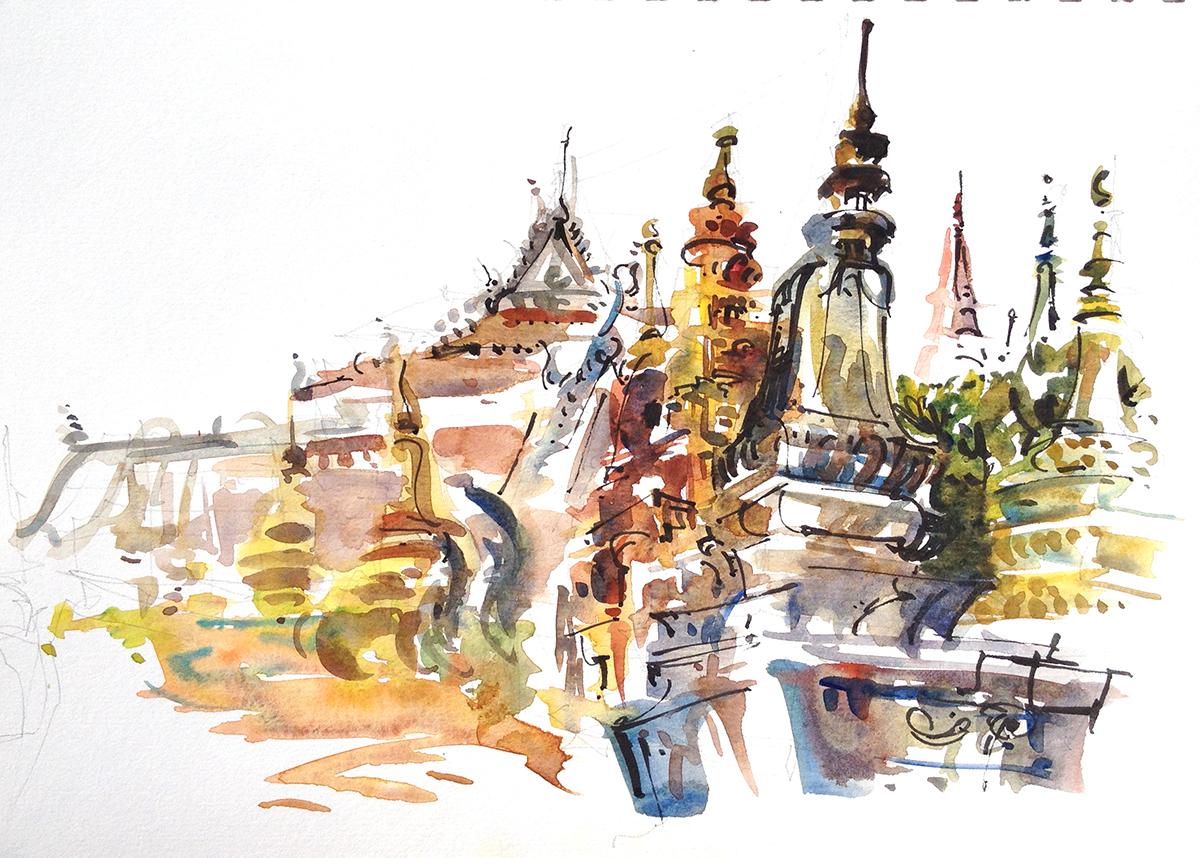 Cambodia A Colorful Buddhist Temple In Siem Riep Sketch